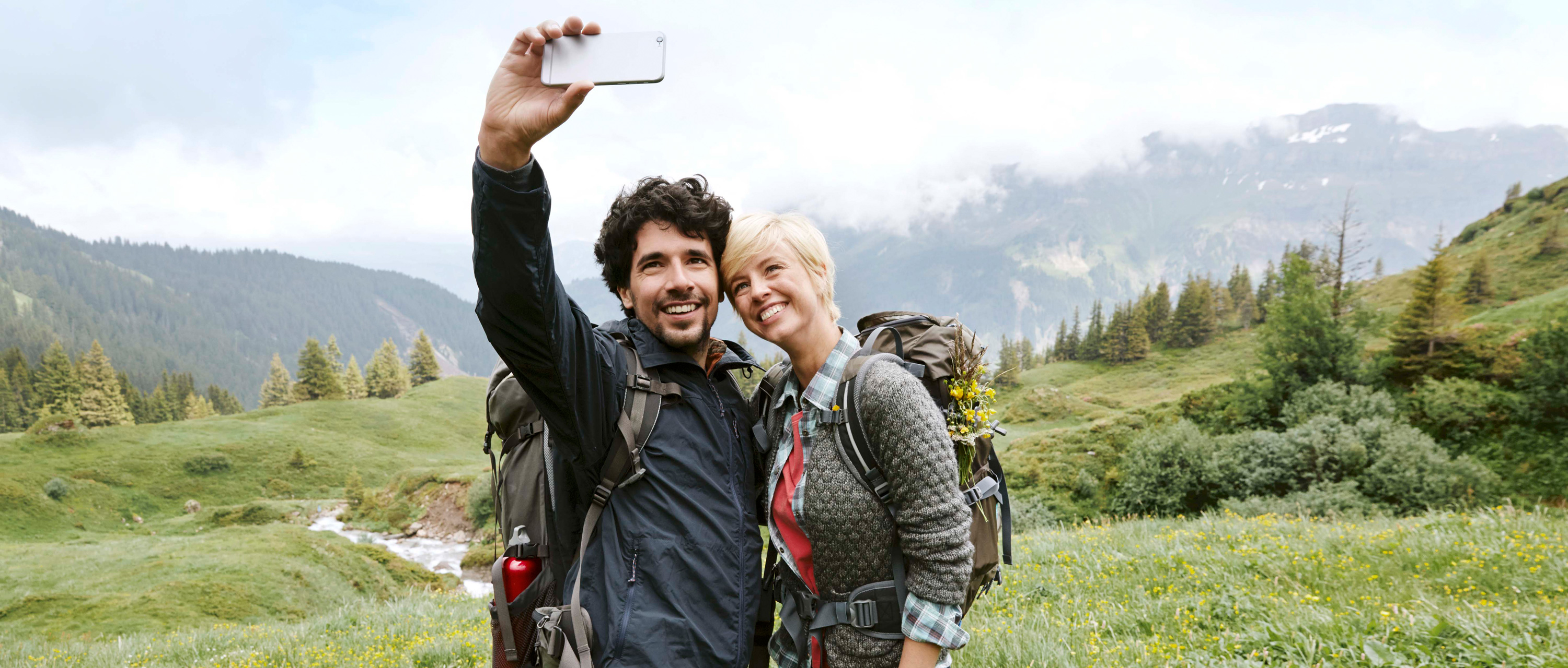 Couple take selfie